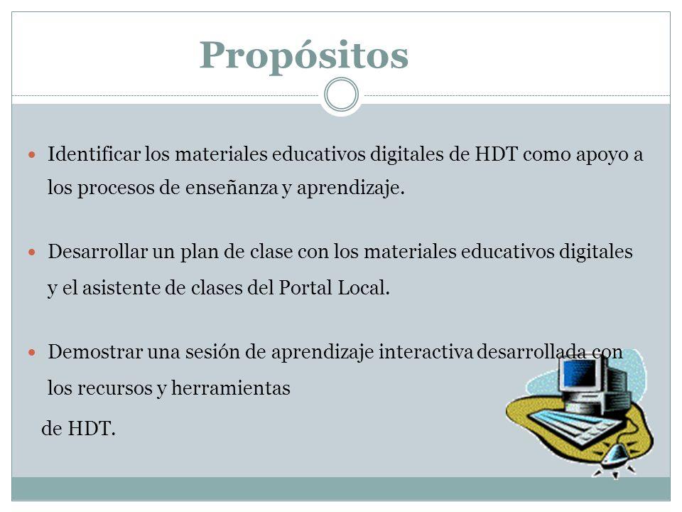 Propósitos Identificar los materiales educativos digitales de HDT como apoyo a los procesos de enseñanza y aprendizaje. Desarrollar un plan de clase c