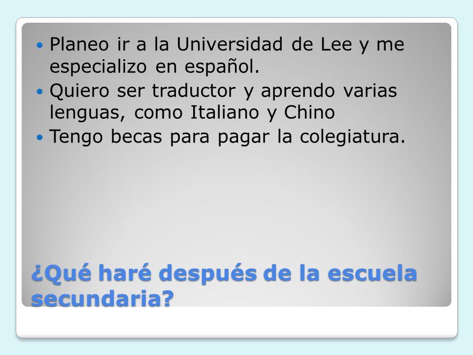 ¿Qué haré después de la escuela secundaria? Planeo ir a la Universidad de Lee y me especializo en español. Quiero ser traductor y aprendo varias lengu
