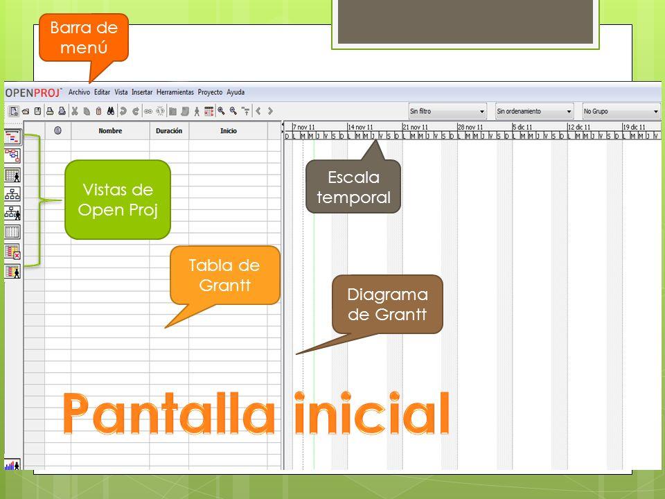 Barra de menú Escala temporal Diagrama de Grantt Tabla de Grantt Vistas de Open Proj