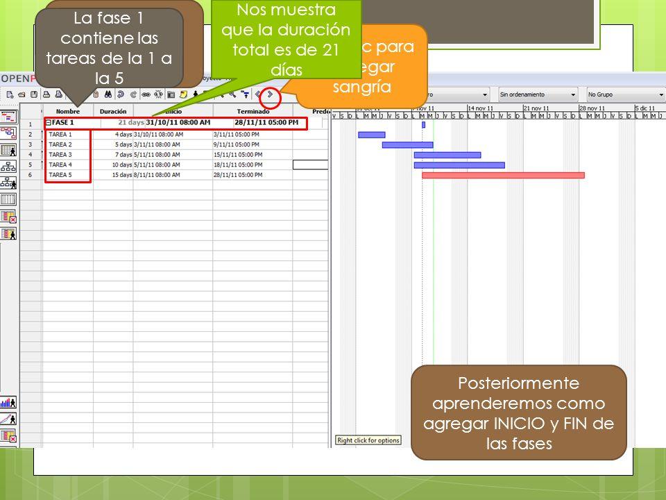 Seleccionar las tareas Dar clic para agregar sangría La fase 1 contiene las tareas de la 1 a la 5 Nos muestra que la duración total es de 21 días Posteriormente aprenderemos como agregar INICIO y FIN de las fases
