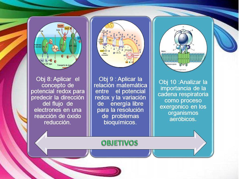 Obj 8: Aplicar el concepto de potencial redox para predecir la dirección del flujo de electrones en una reacción de óxido reducción. Obj 9 : Aplicar l