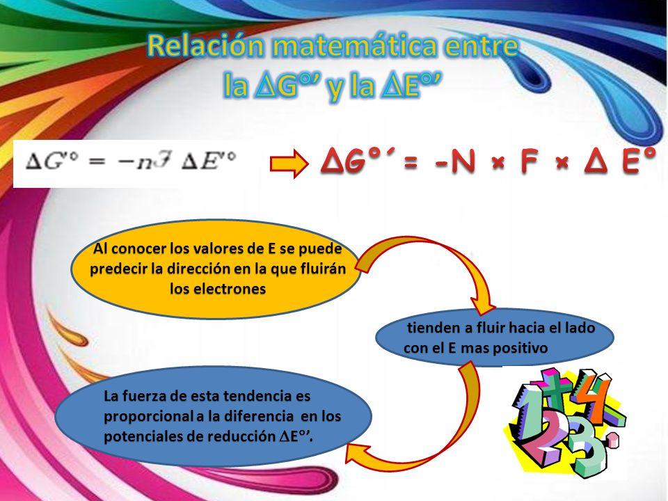 Al conocer los valores de E se puede predecir la dirección en la que fluirán los electrones tienden a fluir hacia el lado con el E mas positivo tiende