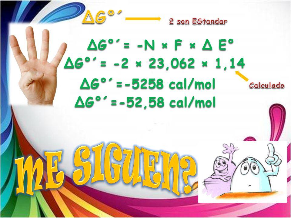 ΔG°´= -N × F × Δ E° ΔG°´= -2 × 23,062 × 1,14 ΔG°´=-5258 cal/mol ΔG°´=-52,58 cal/mol