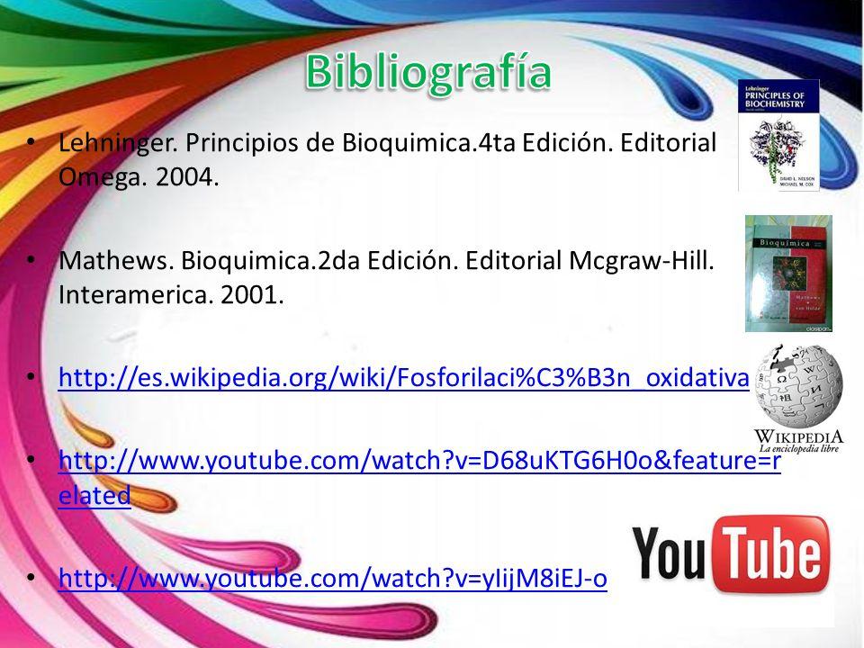 Lehninger. Principios de Bioquimica.4ta Edición. Editorial Omega. 2004. Mathews. Bioquimica.2da Edición. Editorial Mcgraw-Hill. Interamerica. 2001. ht