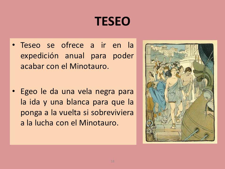 TESEO Teseo se ofrece a ir en la expedición anual para poder acabar con el Minotauro. Egeo le da una vela negra para la ida y una blanca para que la p