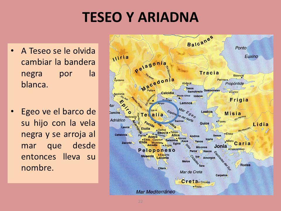 TESEO Y ARIADNA A Teseo se le olvida cambiar la bandera negra por la blanca. Egeo ve el barco de su hijo con la vela negra y se arroja al mar que desd