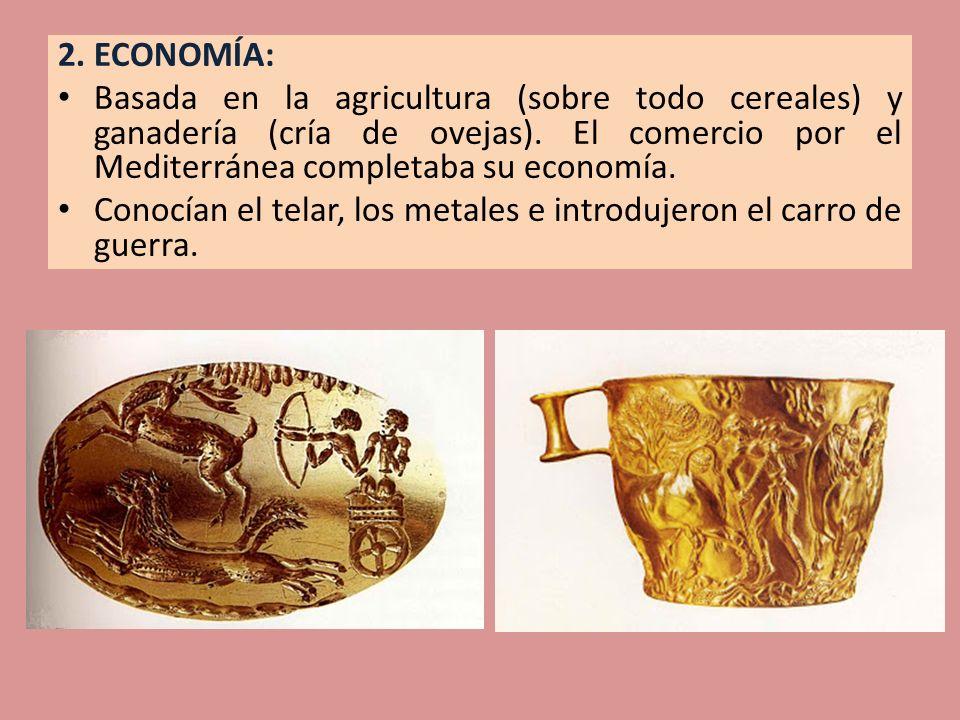 2. ECONOMÍA: Basada en la agricultura (sobre todo cereales) y ganadería (cría de ovejas). El comercio por el Mediterránea completaba su economía. Cono
