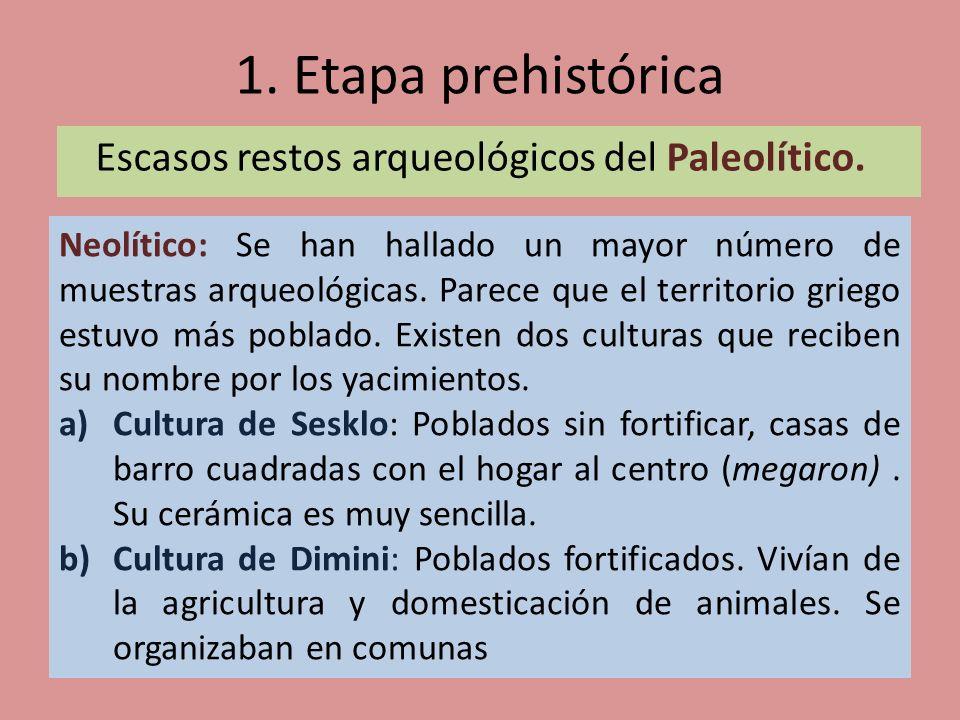 1. Etapa prehistórica Escasos restos arqueológicos del Paleolítico. Neolítico: Se han hallado un mayor número de muestras arqueológicas. Parece que el