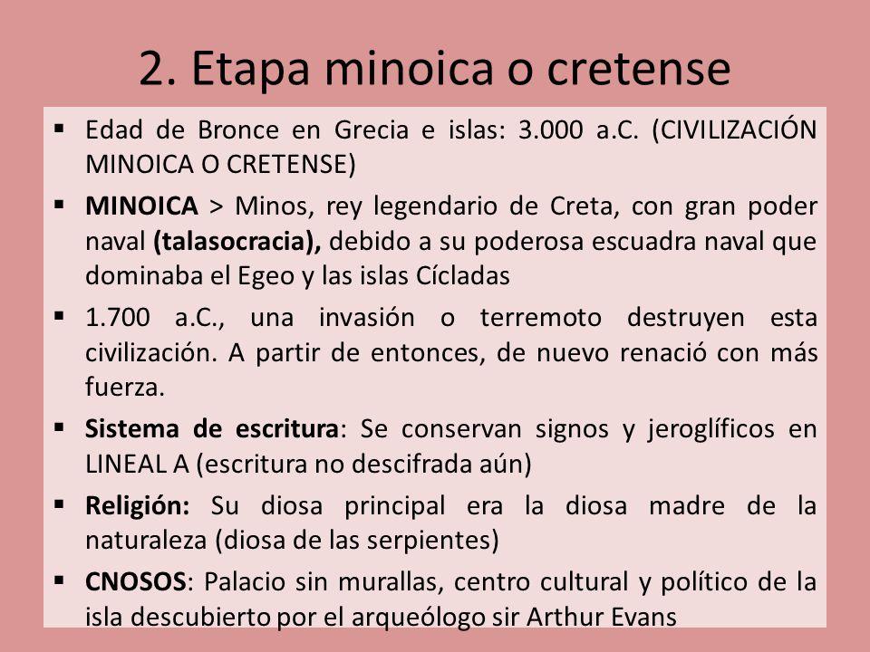 Edad de Bronce en Grecia e islas: 3.000 a.C. (CIVILIZACIÓN MINOICA O CRETENSE) MINOICA > Minos, rey legendario de Creta, con gran poder naval (talasoc