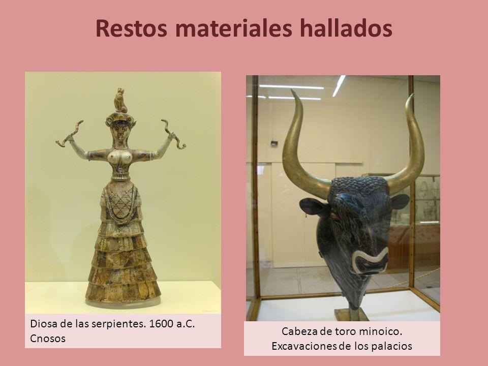 Restos materiales hallados Diosa de las serpientes. 1600 a.C. Cnosos Cabeza de toro minoico. Excavaciones de los palacios