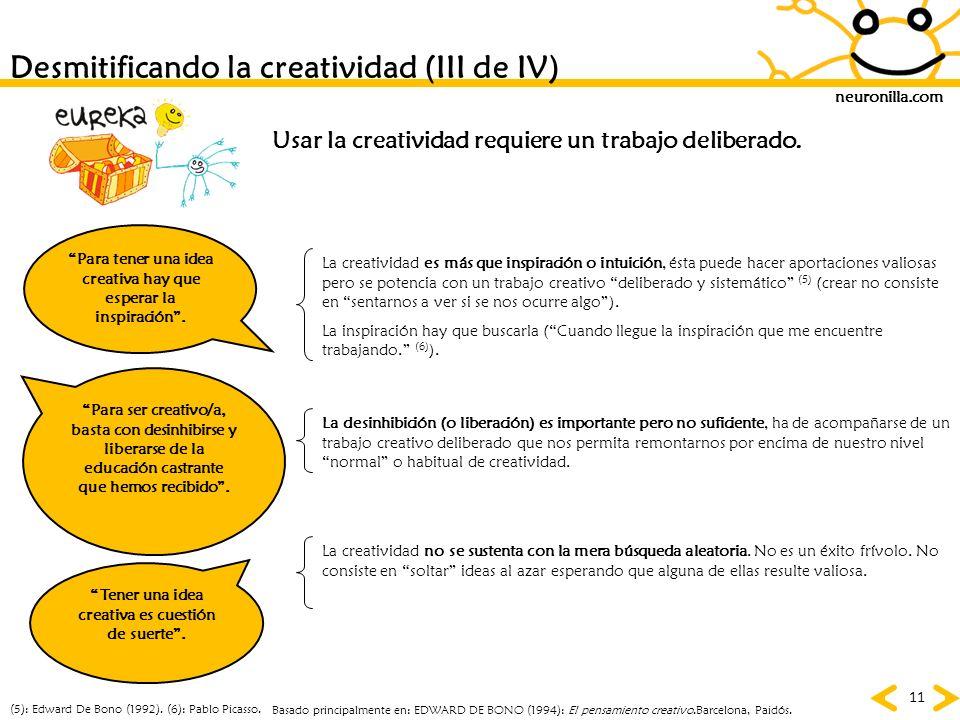 neuronilla.com 11 Desmitificando la creatividad (III de IV) Para ser creativo/a, basta con desinhibirse y liberarse de la educación castrante que hemo