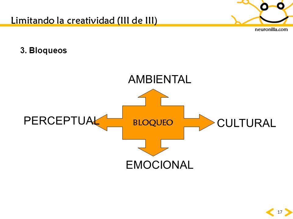 neuronilla.com 17 Limitando la creatividad (III de III) 3. Bloqueos BLOQUEO EMOCIONAL CULTURAL AMBIENTAL PERCEPTUAL