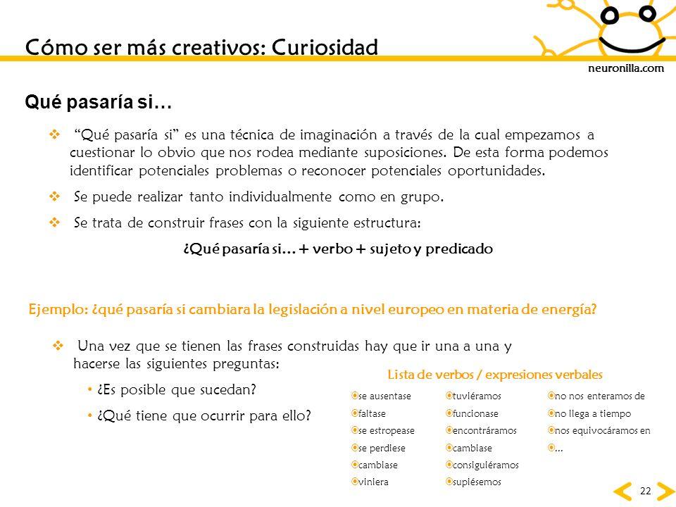 neuronilla.com 22 Qué pasaría si es una técnica de imaginación a través de la cual empezamos a cuestionar lo obvio que nos rodea mediante suposiciones