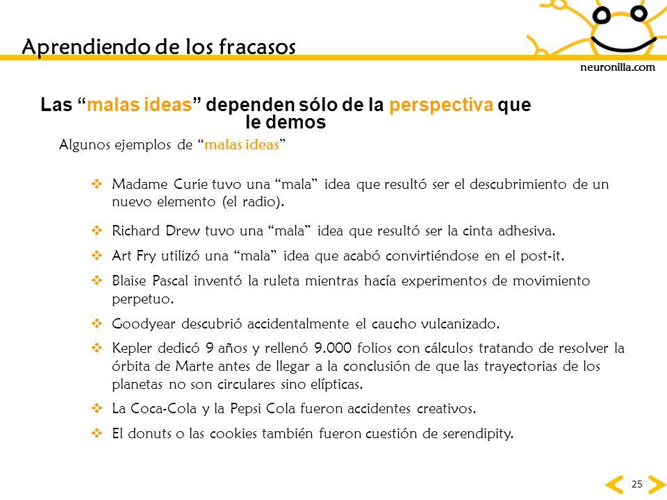 neuronilla.com 25 Las malas ideas dependen sólo de la perspectiva que le demos Madame Curie tuvo una mala idea que resultó ser el descubrimiento de un
