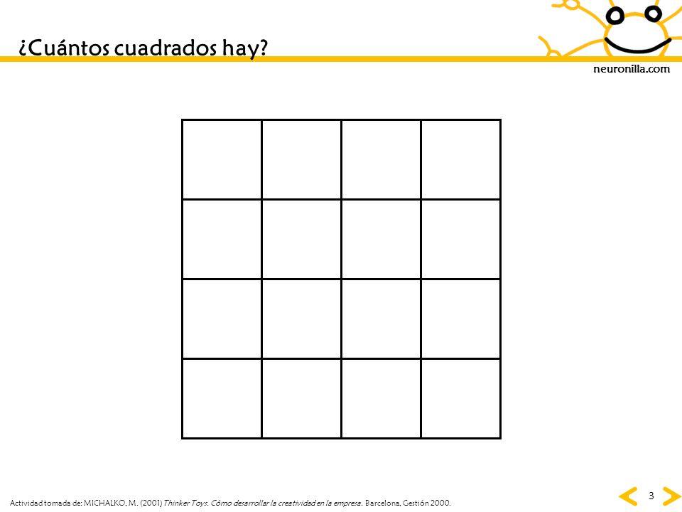 neuronilla.com 3 ¿Cuántos cuadrados hay? Actividad tomada de: MICHALKO, M. (2001)Thinker Toys. Cómo desarrollar la creatividad en la empresa. Barcelon