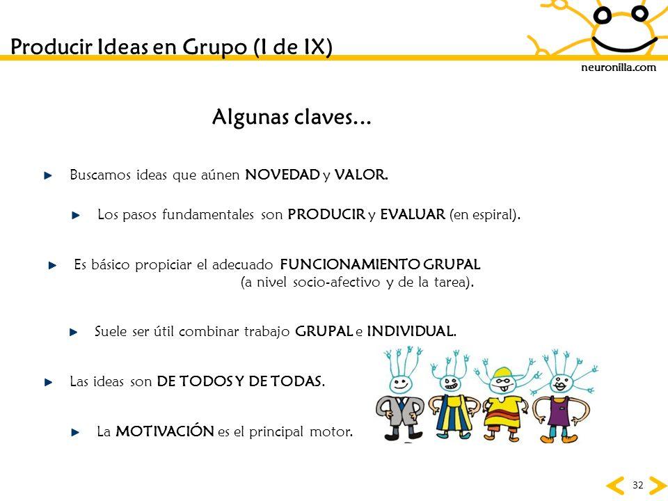 neuronilla.com 32 Producir Ideas en Grupo (I de IX) Algunas claves... Buscamos ideas que aúnen NOVEDAD y VALOR. Los pasos fundamentales son PRODUCIR y