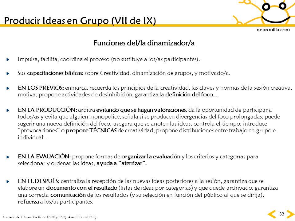 neuronilla.com 33 Producir Ideas en Grupo (VII de IX) Tomado de: Edward De Bono (1970 y 1992), Alex Osborn (1953). Funciones del/la dinamizador/a Sus