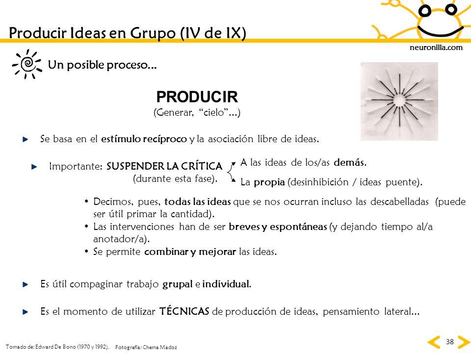 neuronilla.com 38 PRODUCIR (Generar, cielo...) Se basa en el estímulo recíproco y la asociación libre de ideas. Importante: SUSPENDER LA CRÍTICA (dura