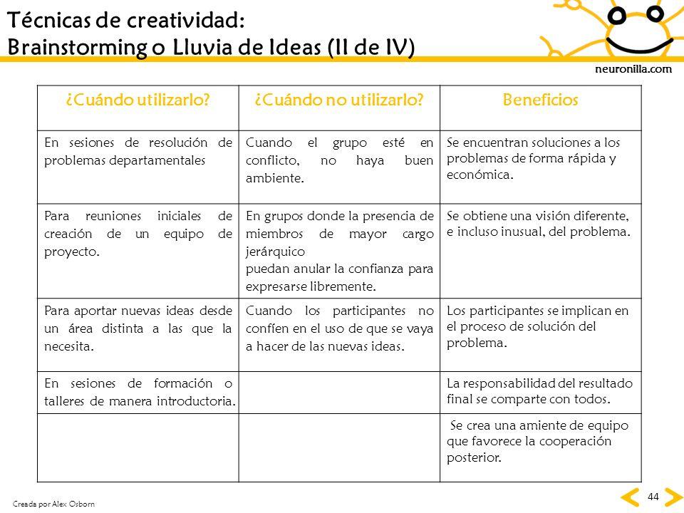 neuronilla.com 44 Técnicas de creatividad: Brainstorming o Lluvia de Ideas (II de IV) ¿Cuándo utilizarlo?¿Cuándo no utilizarlo?Beneficios En sesiones