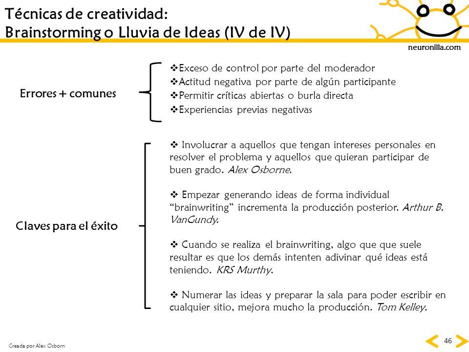 neuronilla.com 46 Técnicas de creatividad: Brainstorming o Lluvia de Ideas (IV de IV) Errores + comunes Claves para el éxito Exceso de control por par