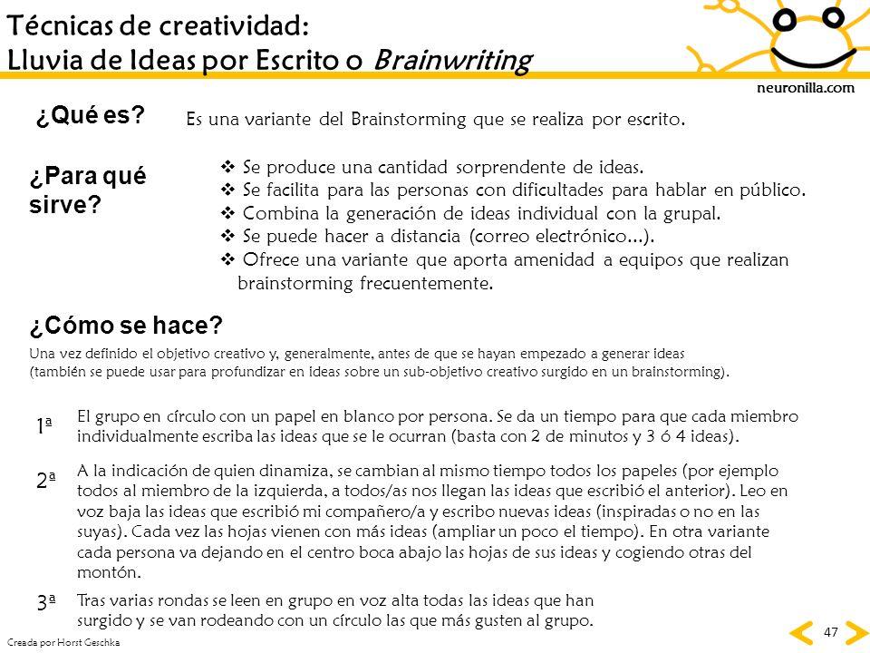 neuronilla.com 47 Técnicas de creatividad: Lluvia de Ideas por Escrito o Brainwriting ¿Qué es? ¿Para qué sirve? ¿Cómo se hace? Es una variante del Bra