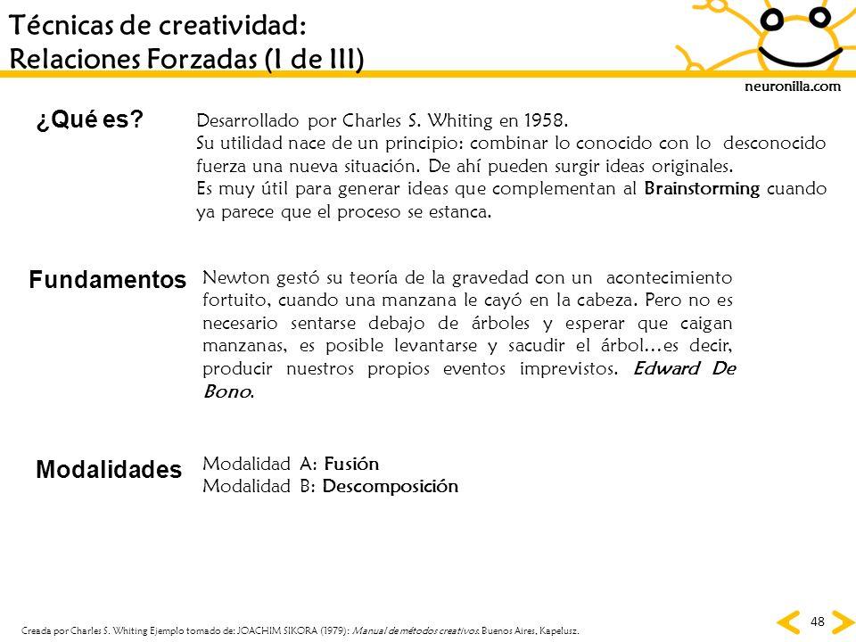 neuronilla.com 48 Técnicas de creatividad: Relaciones Forzadas (I de III) ¿Qué es? Fundamentos Modalidades Desarrollado por Charles S. Whiting en 1958