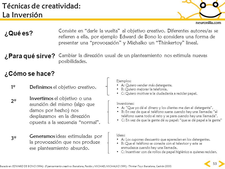 neuronilla.com 53 Técnicas de creatividad: La Inversión ¿Para qué sirve? ¿Cómo se hace? ¿Qué es? Consiste en darle la vuelta al objetivo creativo. Dif