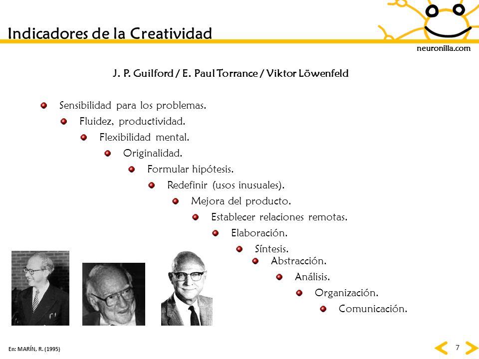 neuronilla.com 7 Indicadores de la Creatividad En: MARÍN, R. (1995) Sensibilidad para los problemas. Fluidez, productividad. Flexibilidad mental. Orig