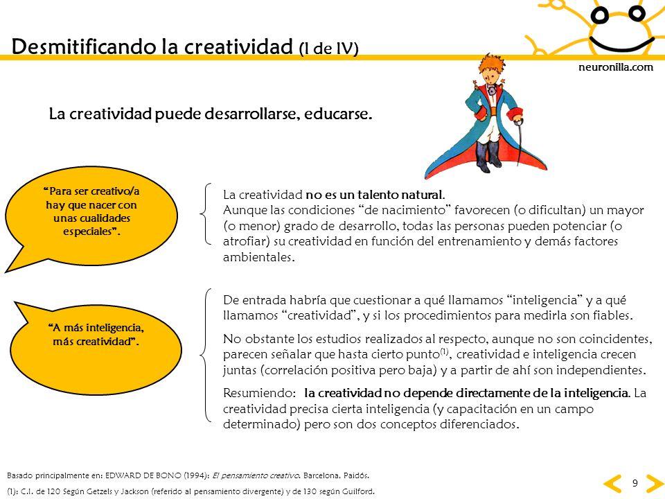 neuronilla.com 9 Desmitificando la creatividad (I de IV) Para ser creativo/a hay que nacer con unas cualidades especiales. (1): C.I. de 120 Según Getz