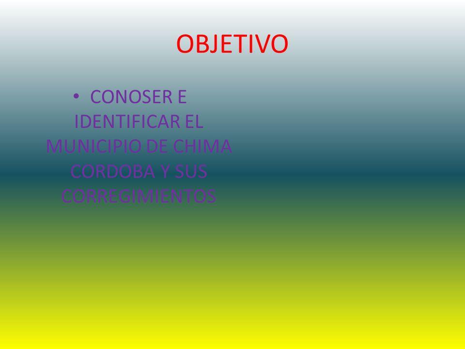 OBJETIVO CONOSER E IDENTIFICAR EL MUNICIPIO DE CHIMA CORDOBA Y SUS CORREGIMIENTOS