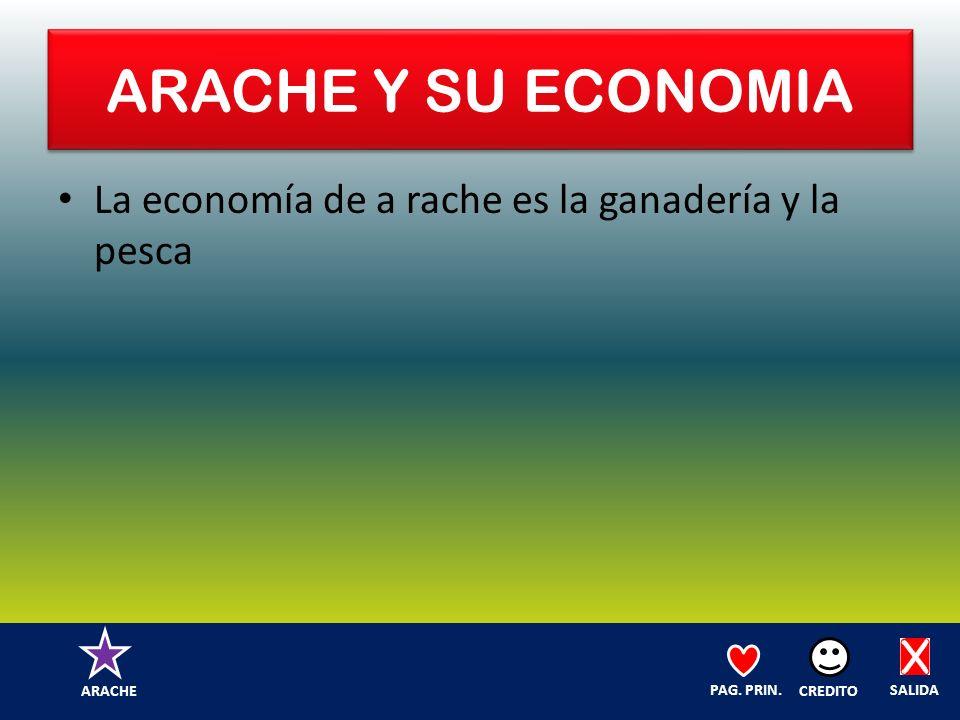 ARACHE Y SU ECONOMIA La economía de a rache es la ganadería y la pesca SALIDA CREDITO PAG.