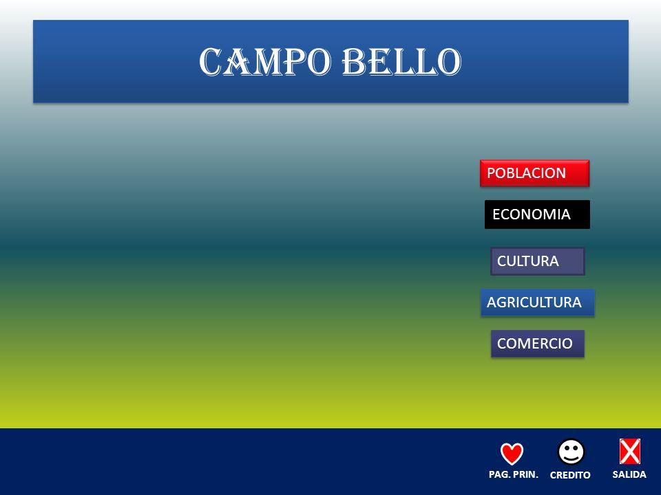 CAMPO BELLO POBLACION ECONOMIA CULTURA AGRICULTURA COMERCIO SALIDA CREDITO PAG. PRIN.