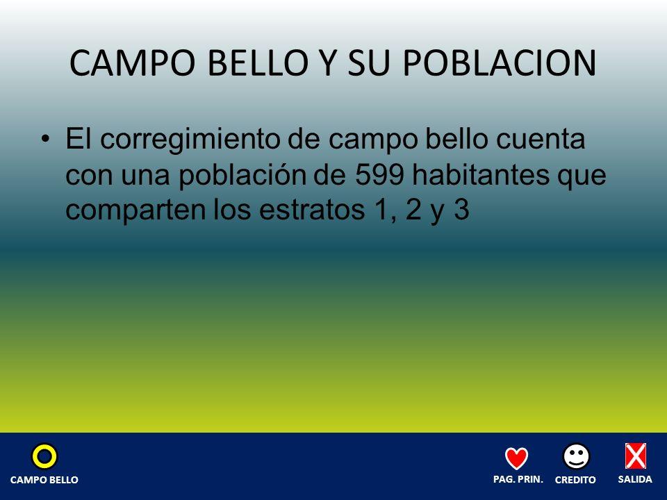 CAMPO BELLO Y SU POBLACION El corregimiento de campo bello cuenta con una población de 599 habitantes que comparten los estratos 1, 2 y 3 SALIDA CREDITO PAG.