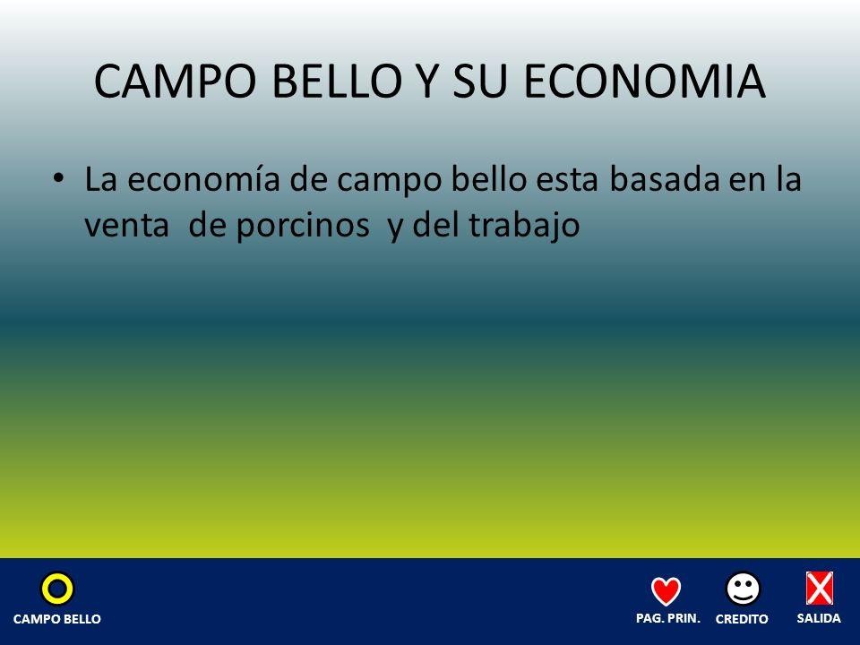 CAMPO BELLO Y SU ECONOMIA La economía de campo bello esta basada en la venta de porcinos y del trabajo SALIDA CREDITO PAG.