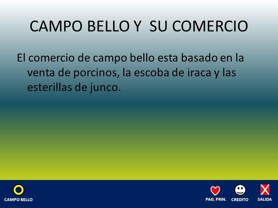 CAMPO BELLO Y SU COMERCIO El comercio de campo bello esta basado en la venta de porcinos, la escoba de iraca y las esterillas de junco.