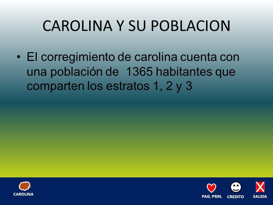 CAROLINA Y SU POBLACION El corregimiento de carolina cuenta con una población de 1365 habitantes que comparten los estratos 1, 2 y 3 SALIDA CREDITO PAG.