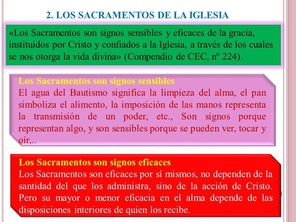2. LOS SACRAMENTOS DE LA IGLESIA «Los Sacramentos son signos sensibles y eficaces de la gracia, instituidos por Cristo y confiados a la Iglesia, a tra