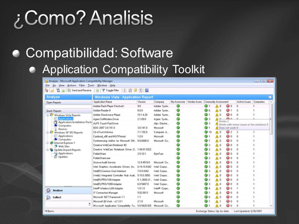 Compatibilidad: Software Application Compatibility Toolkit