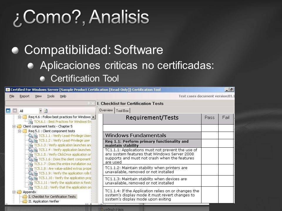 Compatibilidad: Software Aplicaciones criticas no certificadas: Certification Tool