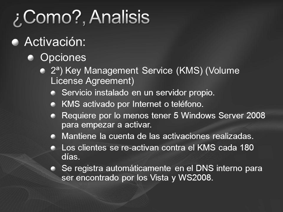 Activación: Opciones 2ª) Key Management Service (KMS) (Volume License Agreement) Servicio instalado en un servidor propio. KMS activado por Internet o