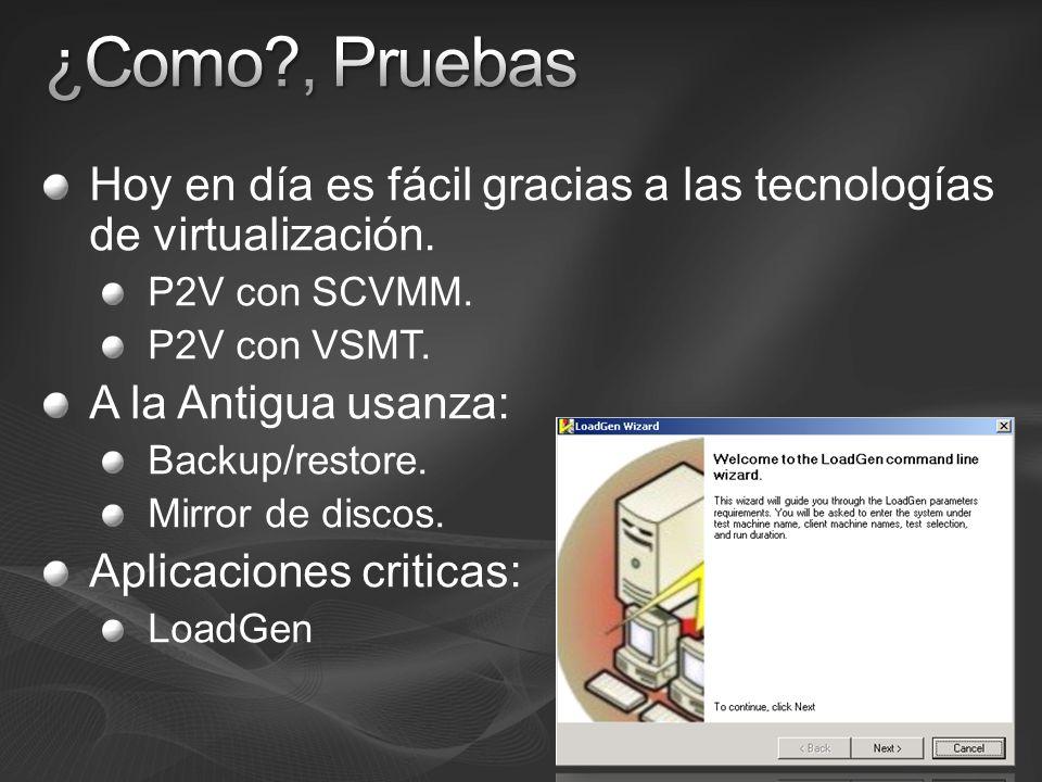 Hoy en día es fácil gracias a las tecnologías de virtualización. P2V con SCVMM. P2V con VSMT. A la Antigua usanza: Backup/restore. Mirror de discos. A