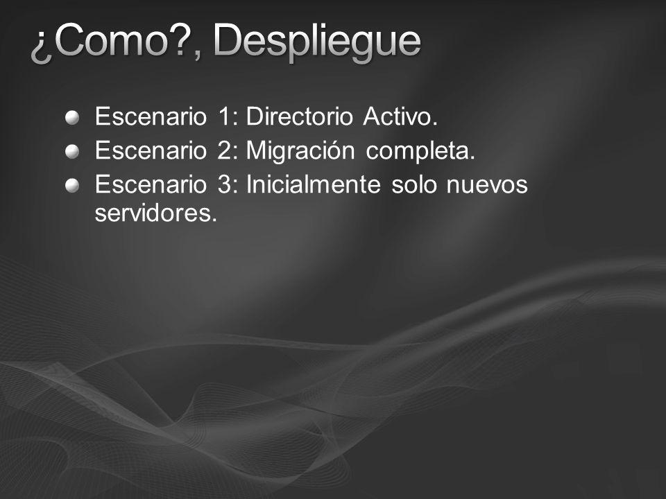 Escenario 1: Directorio Activo. Escenario 2: Migración completa. Escenario 3: Inicialmente solo nuevos servidores.