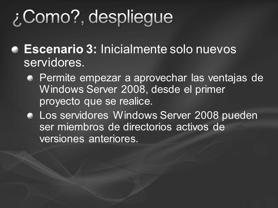 Escenario 3: Inicialmente solo nuevos servidores. Permite empezar a aprovechar las ventajas de Windows Server 2008, desde el primer proyecto que se re