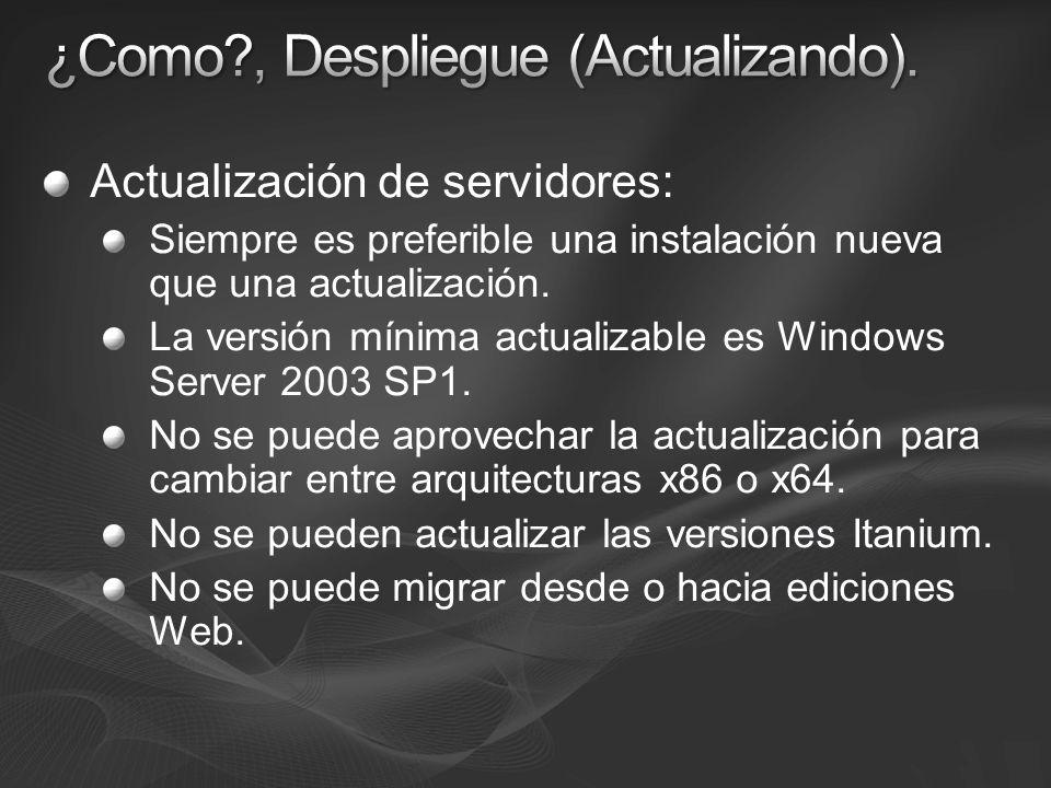 Actualización de servidores: Siempre es preferible una instalación nueva que una actualización. La versión mínima actualizable es Windows Server 2003