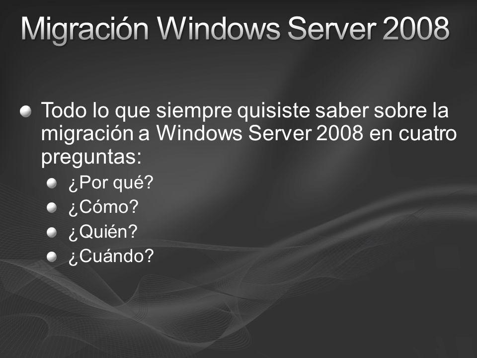Todo lo que siempre quisiste saber sobre la migración a Windows Server 2008 en cuatro preguntas: ¿Por qué? ¿Cómo? ¿Quién? ¿Cuándo?