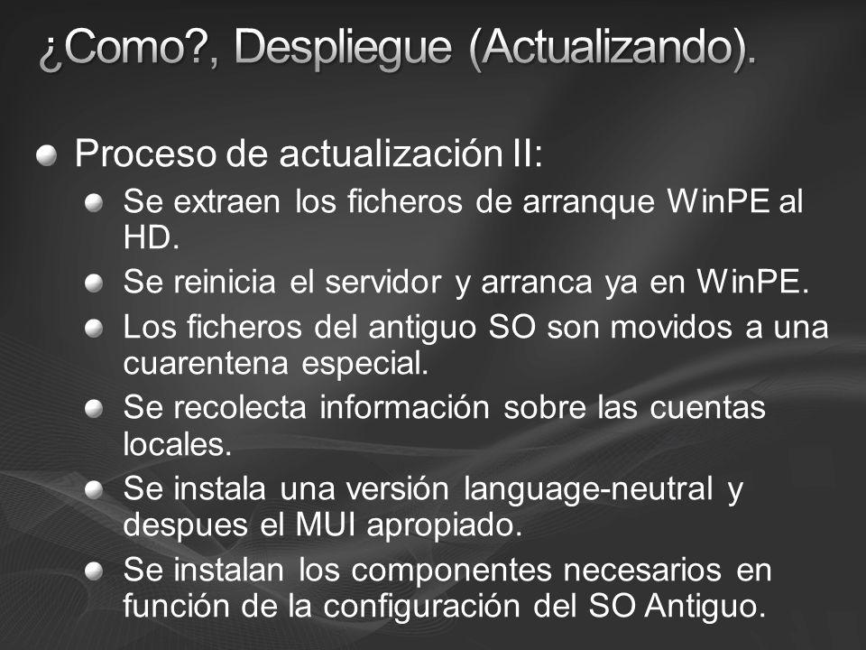 Proceso de actualización II: Se extraen los ficheros de arranque WinPE al HD. Se reinicia el servidor y arranca ya en WinPE. Los ficheros del antiguo