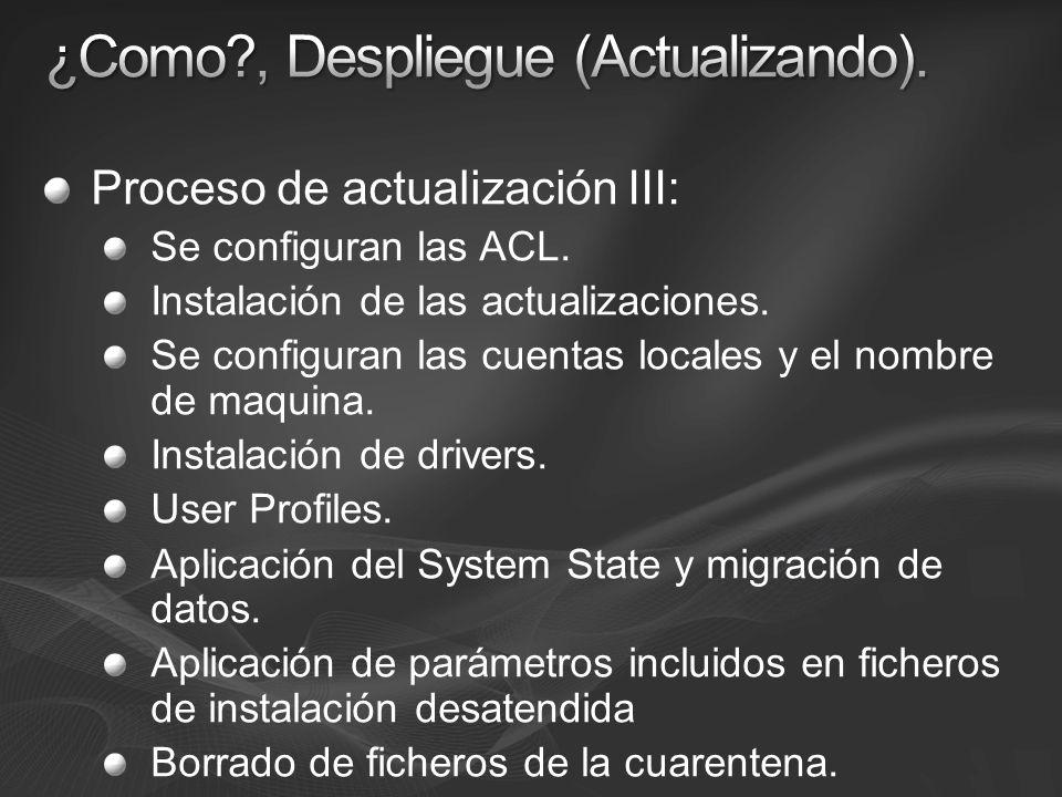 Proceso de actualización III: Se configuran las ACL. Instalación de las actualizaciones. Se configuran las cuentas locales y el nombre de maquina. Ins