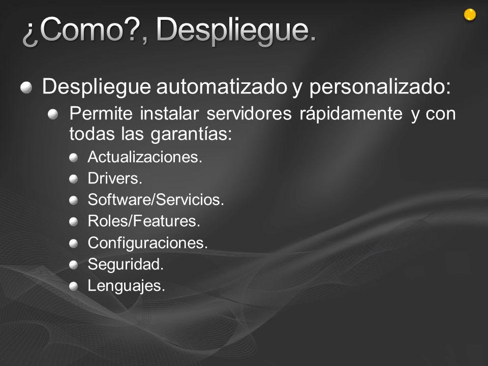 Despliegue automatizado y personalizado: Permite instalar servidores rápidamente y con todas las garantías: Actualizaciones. Drivers. Software/Servici