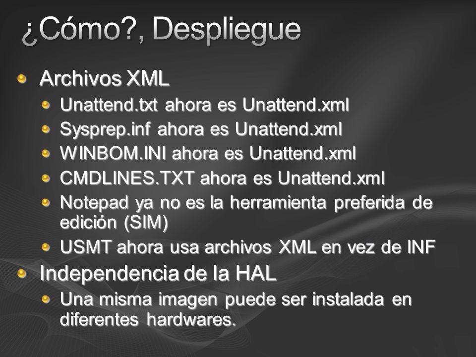 Archivos XML Unattend.txt ahora es Unattend.xml Sysprep.inf ahora es Unattend.xml WINBOM.INI ahora es Unattend.xml CMDLINES.TXT ahora es Unattend.xml
