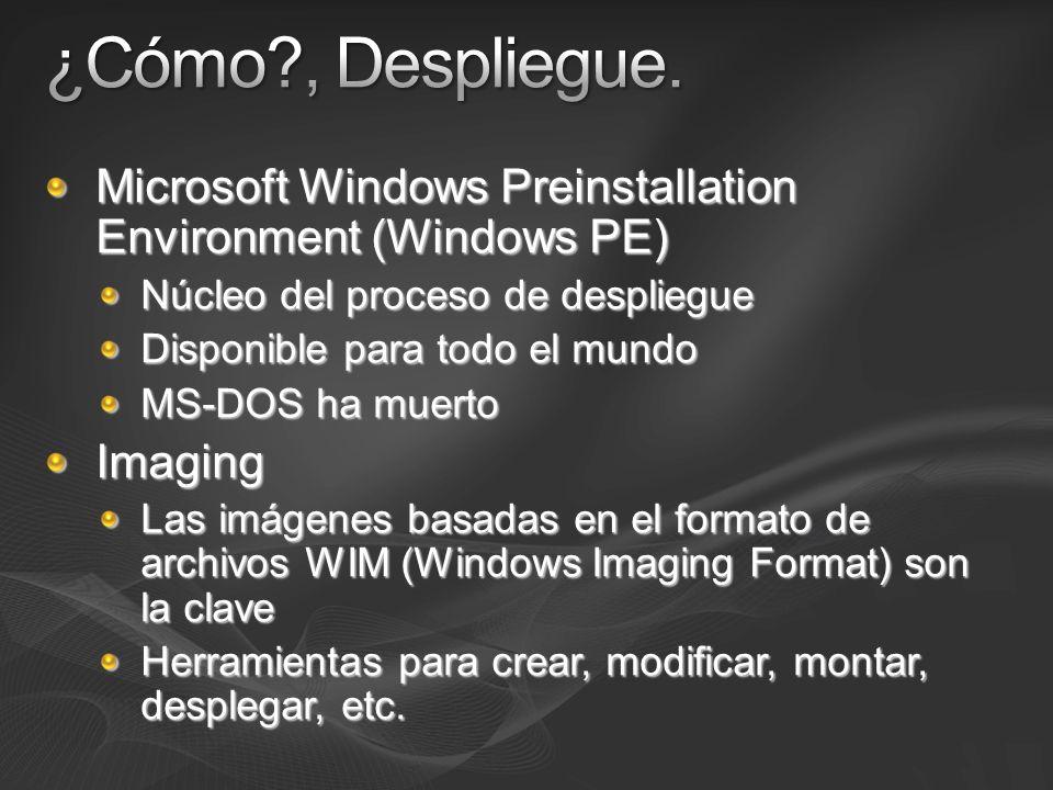 Microsoft Windows Preinstallation Environment (Windows PE) Núcleo del proceso de despliegue Disponible para todo el mundo MS-DOS ha muerto Imaging Las